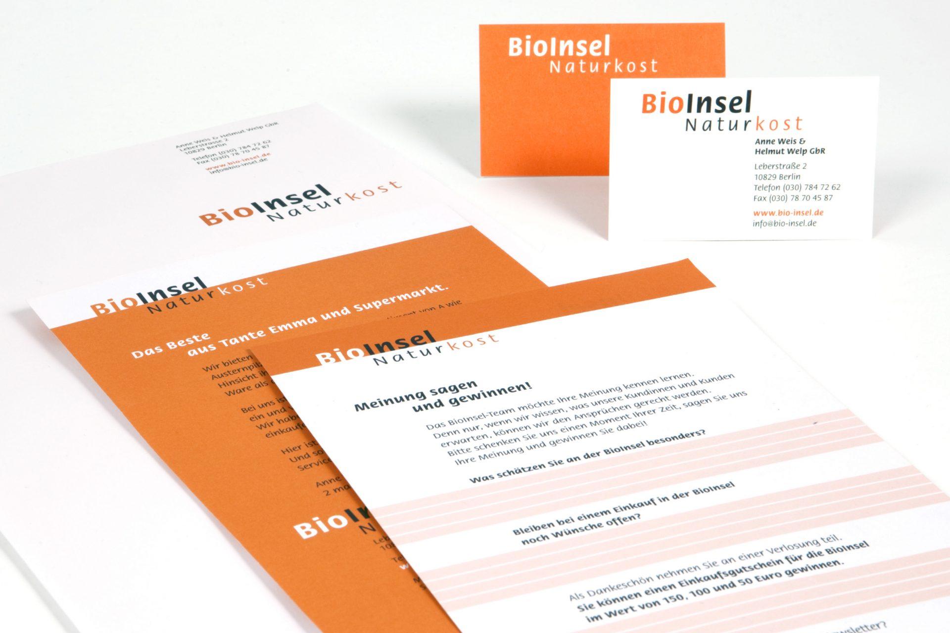 Visitenkarten, Briefbogen Formular: Entwurf im Corporate Design der BioInsel - Typoly