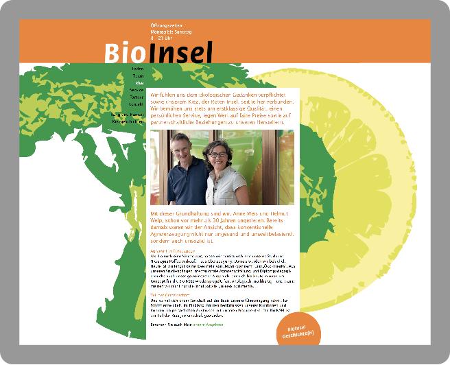 Webseiten-Gestaltung für die BioInsel - Typoly