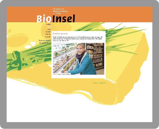 Webseitenentwurf für die BioInsel - Typoly