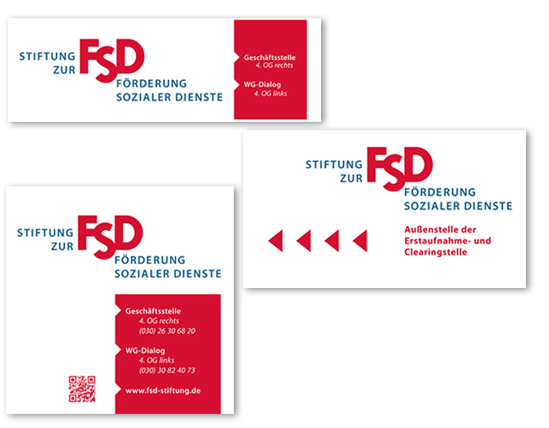 Eingangsschilder mit Logo im Corporate Design der Stiftung - Typoly