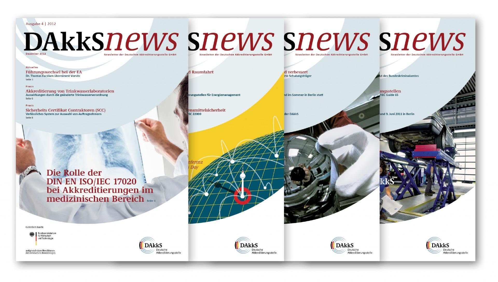 Layout der Titelseiten für den DAkkS-Newsletter - Typoly