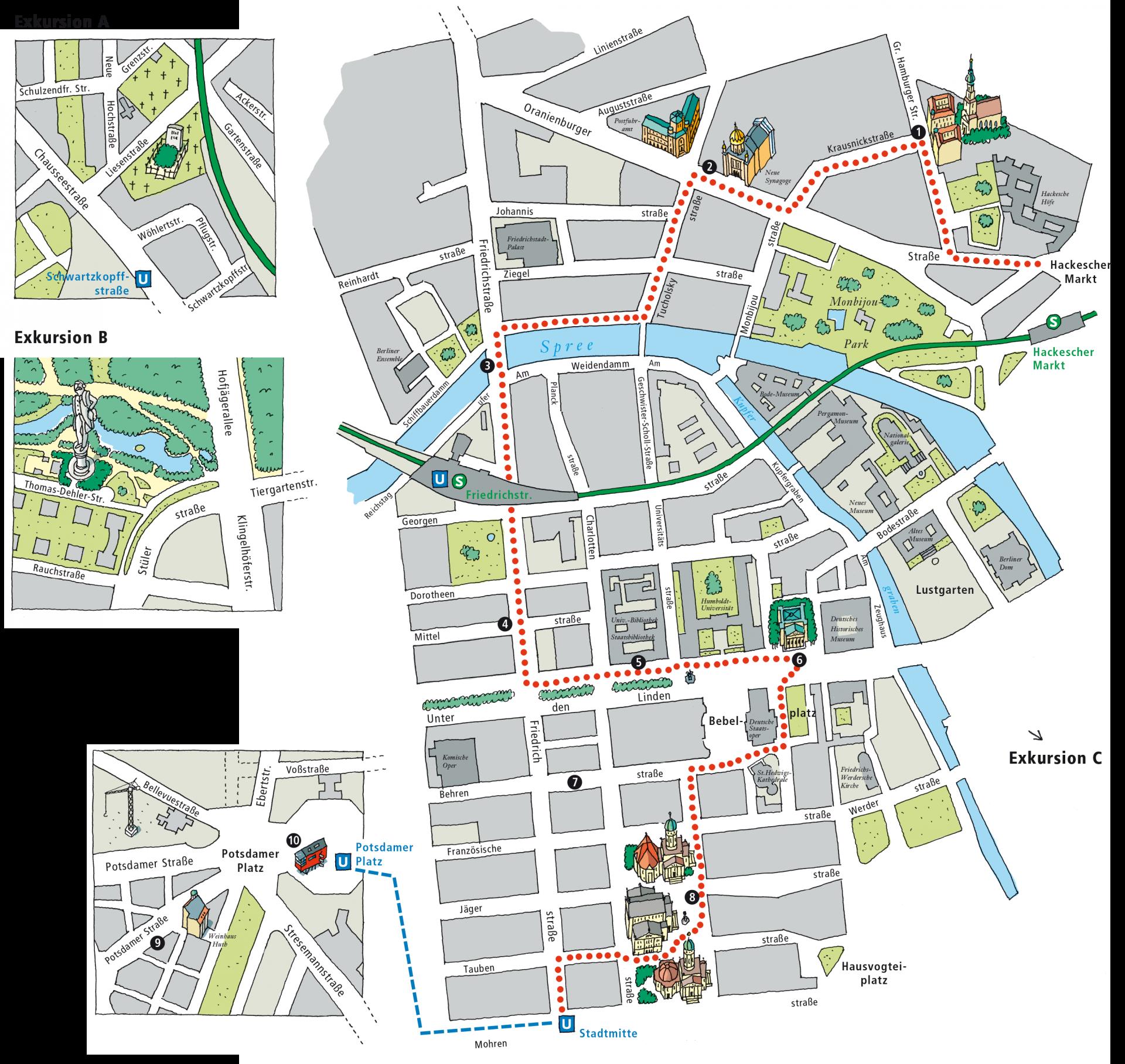 Stadtplan mit eingezeichneten Exkursionen - Typoly