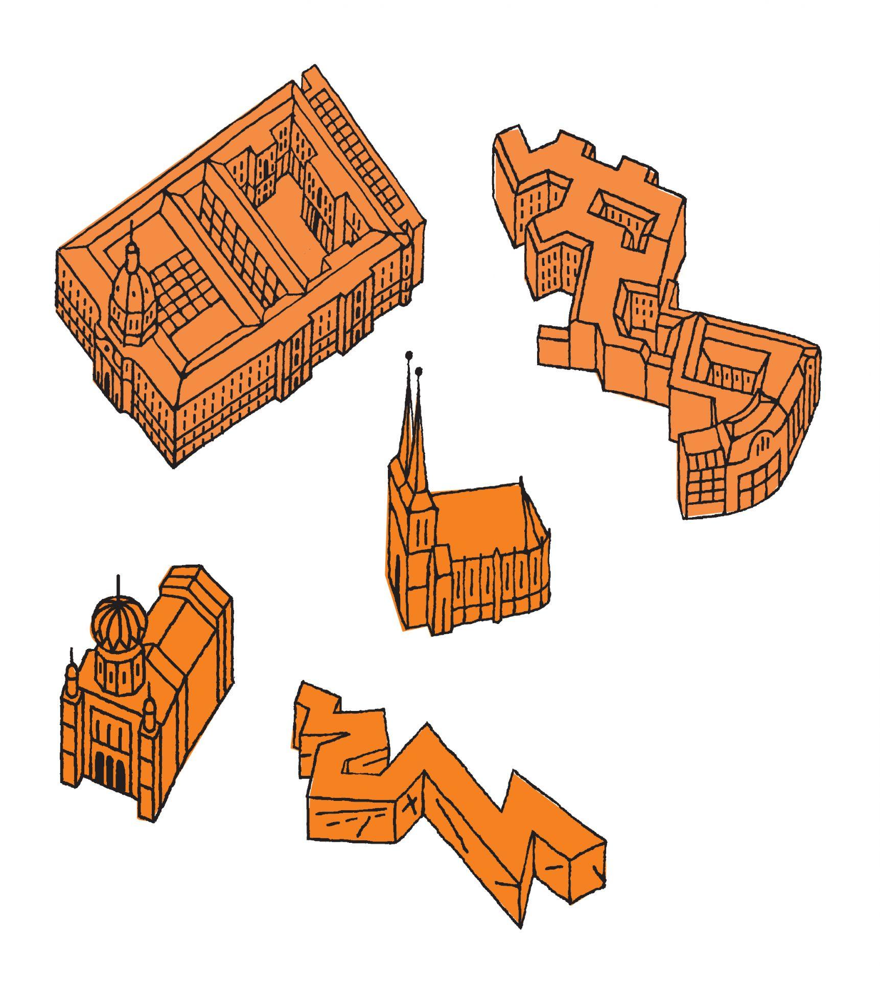 3D-Gebäude gezeichnet für Stadtplan - Typoly