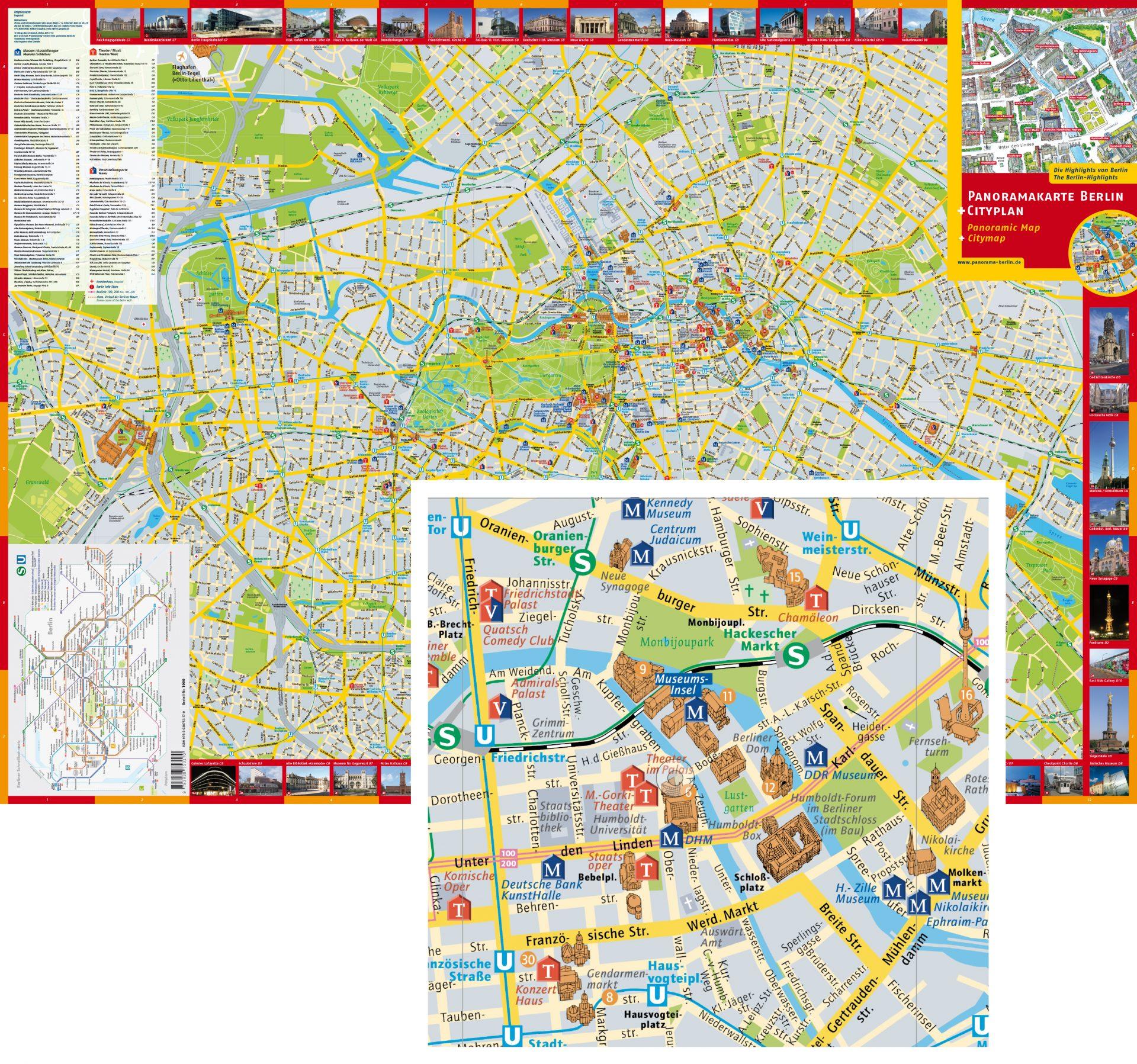 Stadtplan von Berlin mit dreidimensionalen Häusern - Typoly