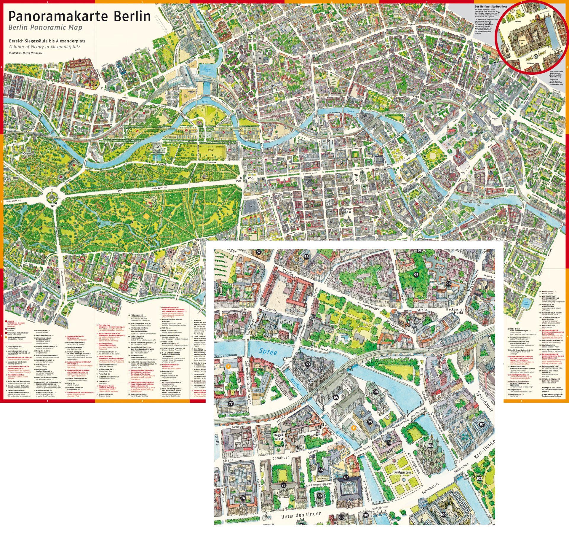 komplett illustierter Stadtplan von Berlin mit 3D-Gebäuden - Typoly