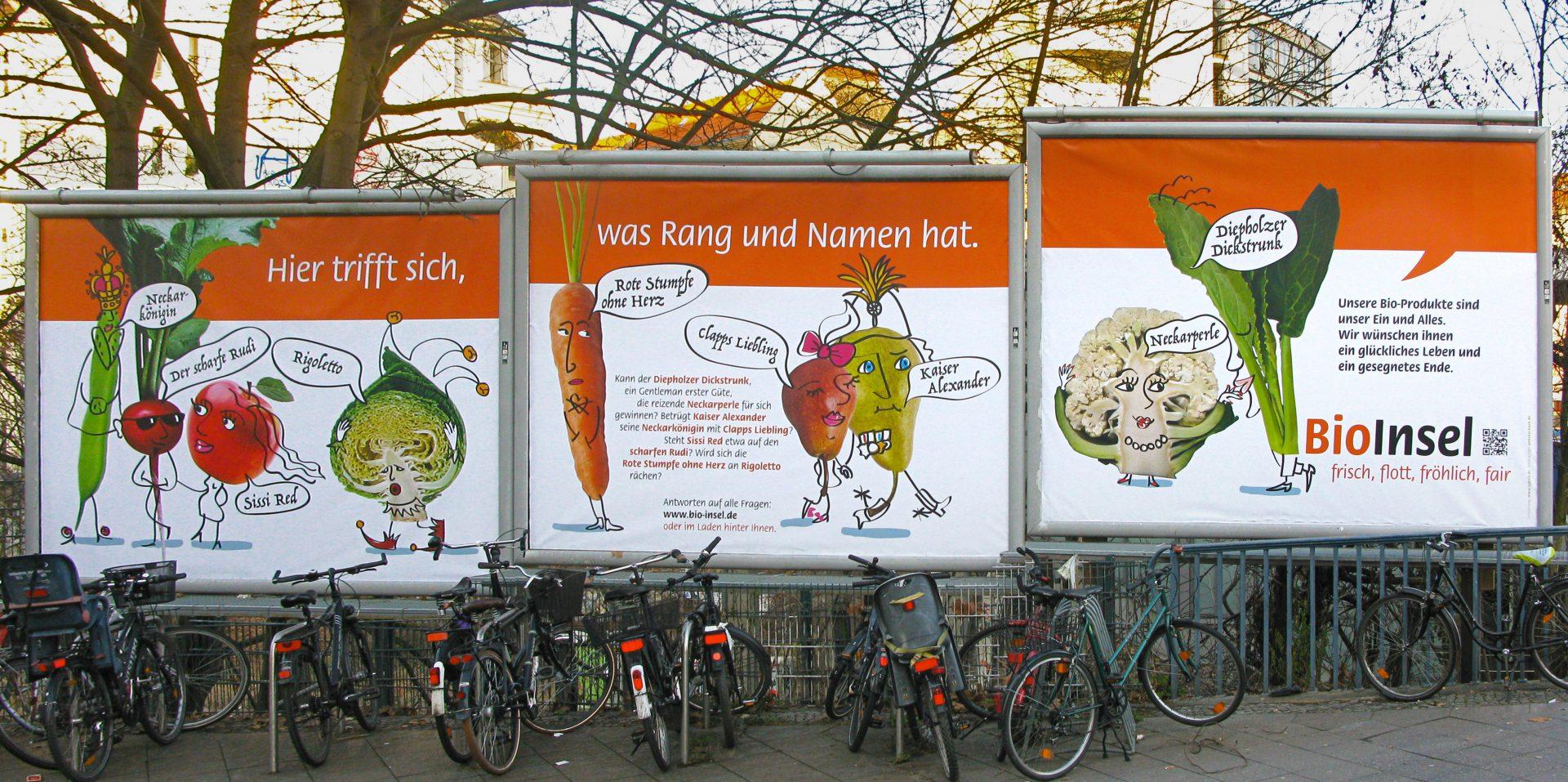 Große Werbeplakate mit Foto und Illustration für die BioInsel - Typoly