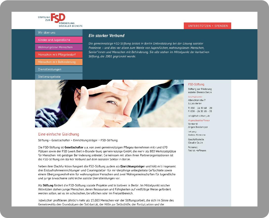 Webdesign: Startseite für die FSD-Stiftung - Typoly