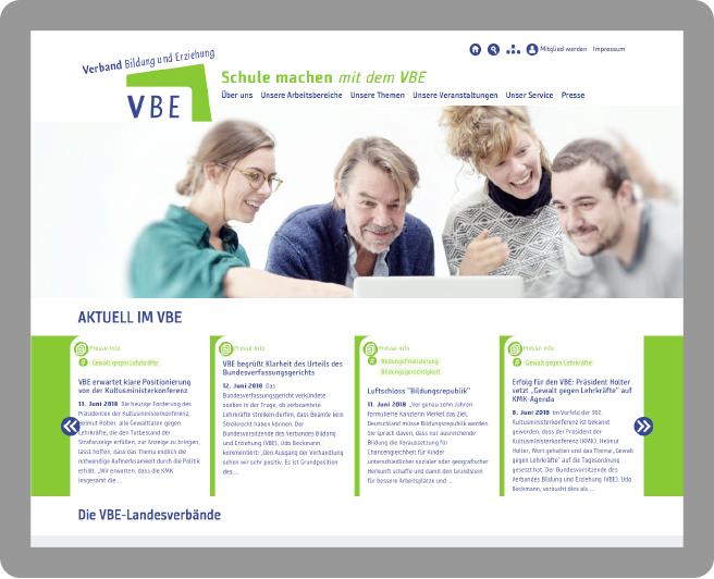 Webdesign: Startseite VBE - Typoly