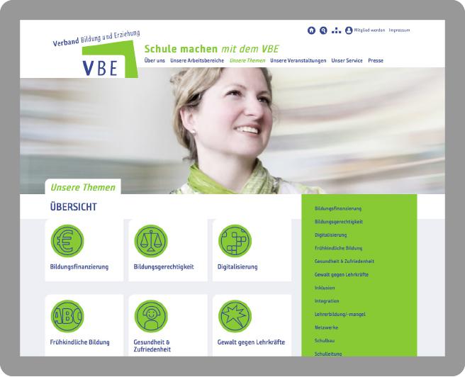 Gestaltung der Webseite für den VBE - Typoly